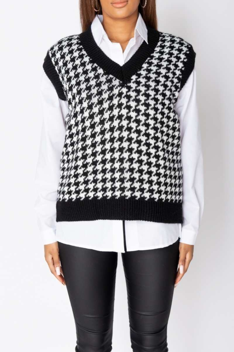 Houndstooth Check Sleeveless Knitted Top - Black - 2