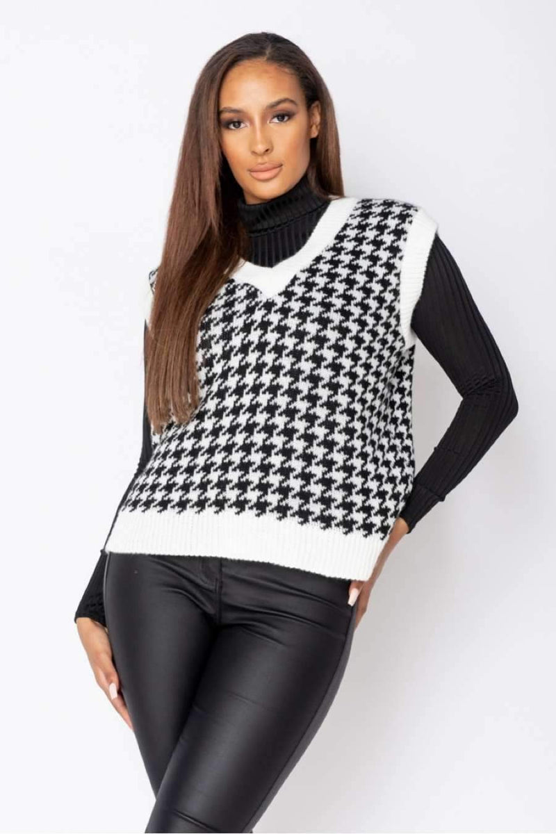 Houndstooth Check Sleeveless Knitted Top - White/Black