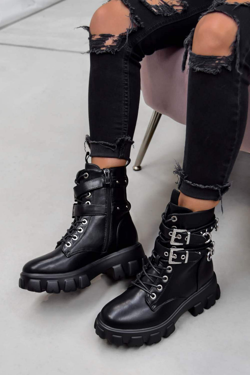 IN CHARGE Chunky Platform Buckle Boots - Black PU - 1