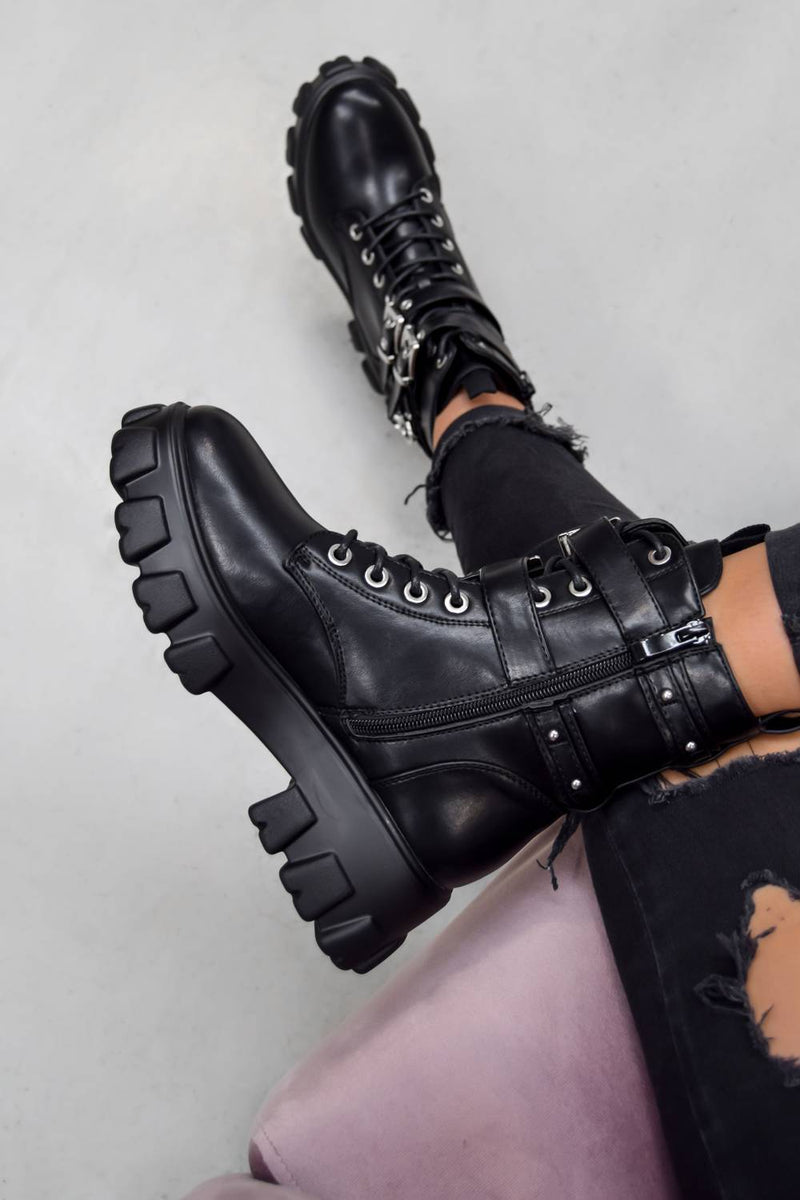IN CHARGE Chunky Platform Buckle Boots - Black PU - 2