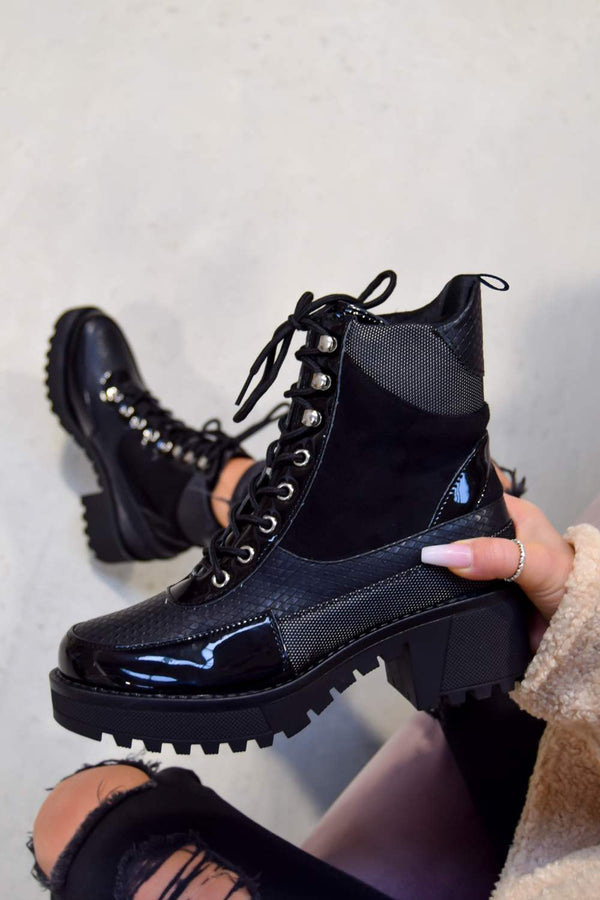 IN CHARGE Lace Up Cleated Sole Ankle Boots - Black Snake