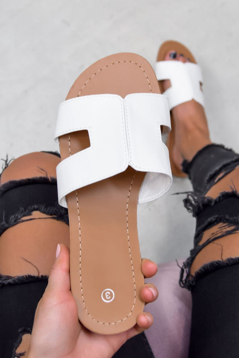 KAIT Loop Cut Out Slider Sandals - White - 1