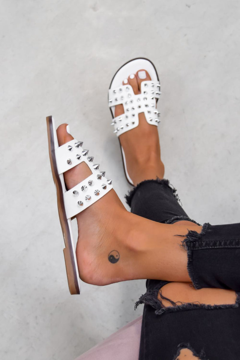 KATE Studded Loupe Strap Sandals - White - 2