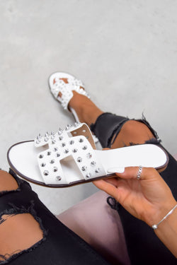 KATE Studded Loupe Strap Sandals - White