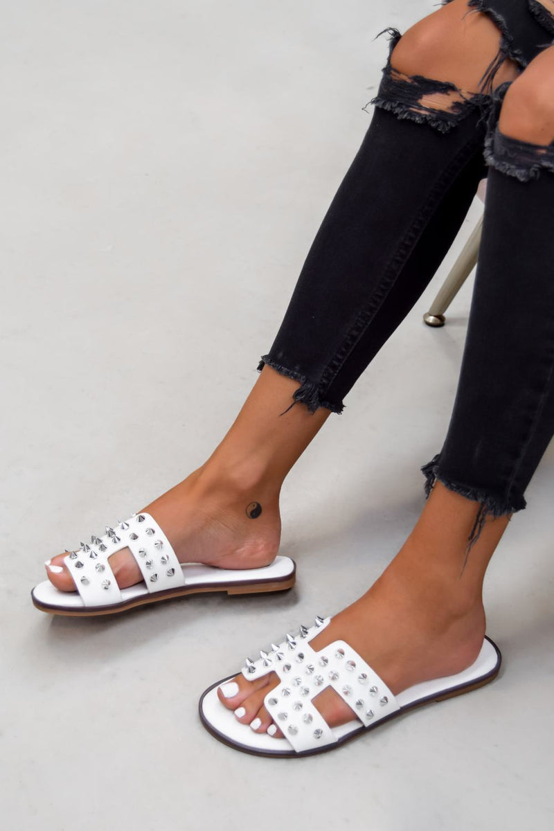 KATE Studded Loupe Strap Sandals - White - 1