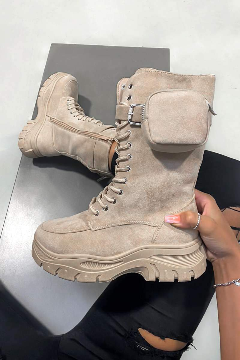 KEEP IN Chunky Pocket Mid Boots - Beige
