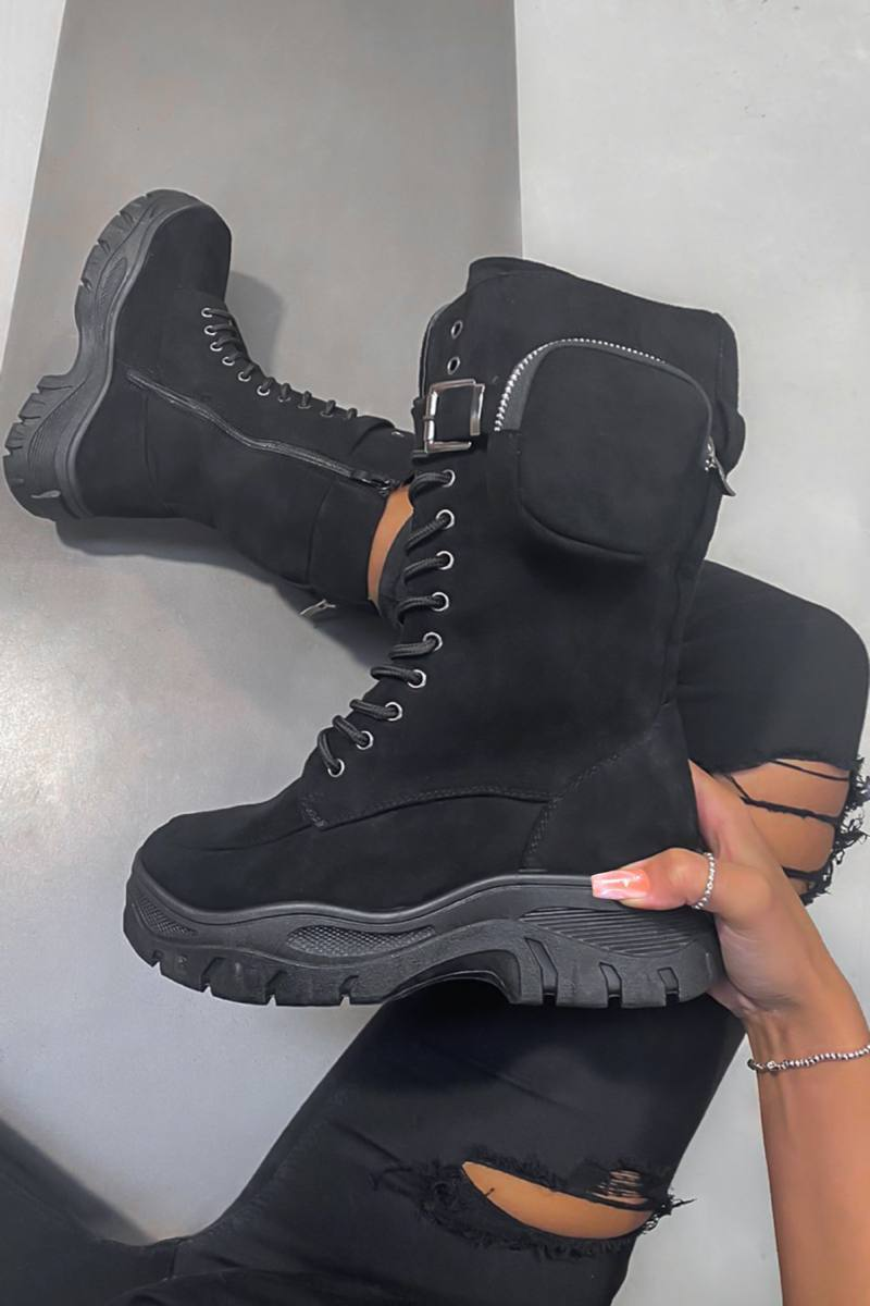 KEEP IN Chunky Pocket Mid Boots - Black