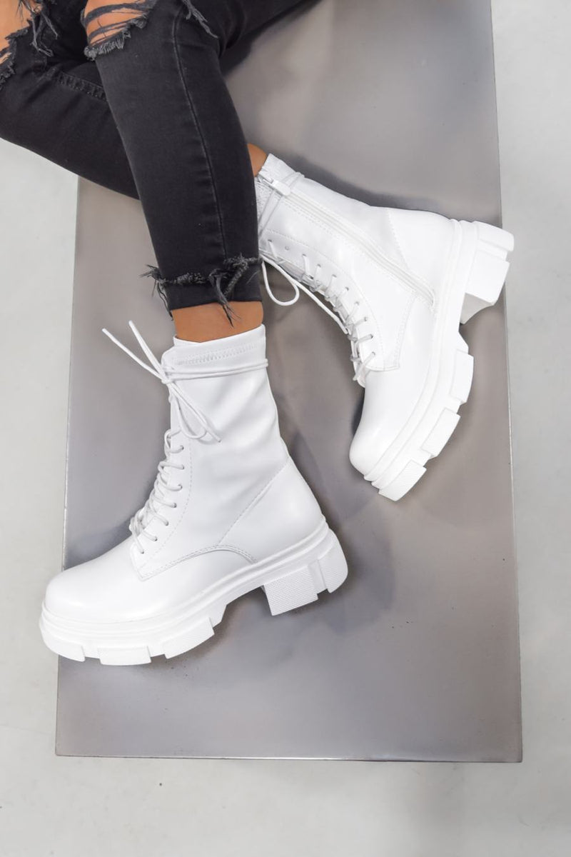 KEEP IT Chunky Lace Up Ankle Boots - White - 1