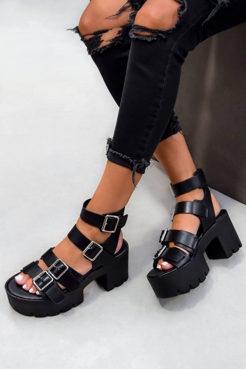 KIARA Chunky Cleated Platform Sandals - Black PU - 1