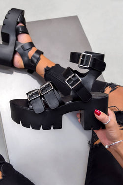 KIARA Chunky Cleated Platform Sandals - Black PU