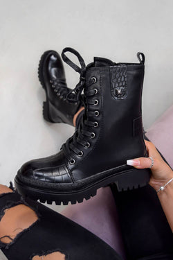 KICK BACK Lace Up Croc Biker Ankle Boots - Black