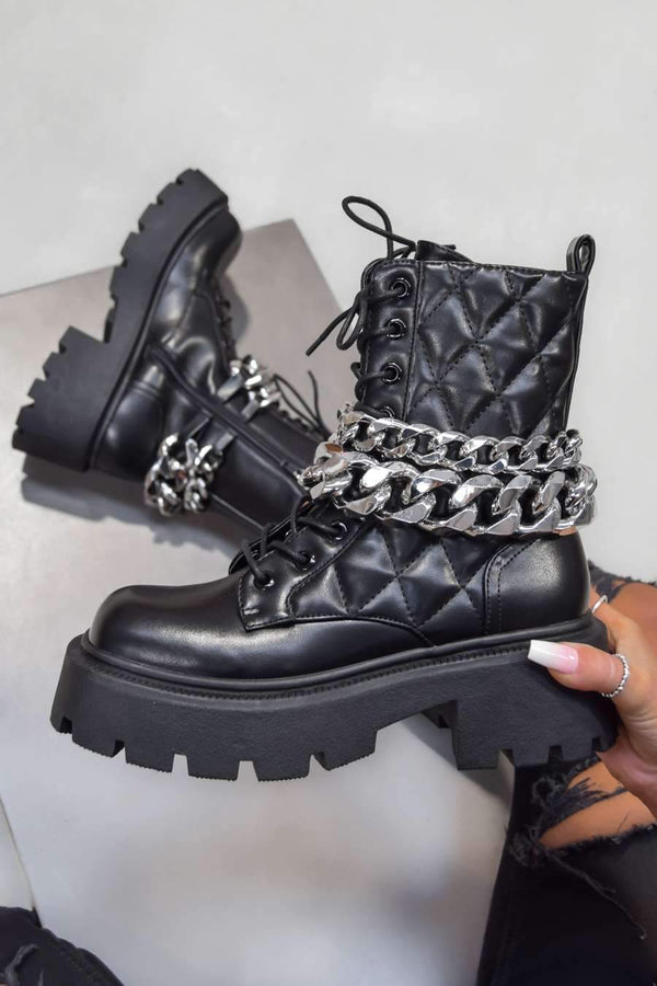 KICK OFF Chunky Lace Up Chain Platform Ankle Boots - Black PU