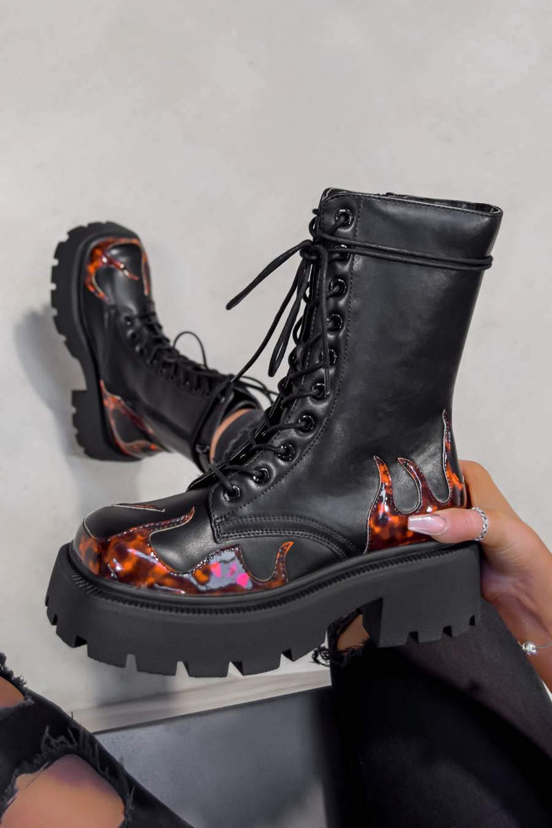 KICK OFF Chunky Lace Up Platform Ankle Boots - Black Flames - 1