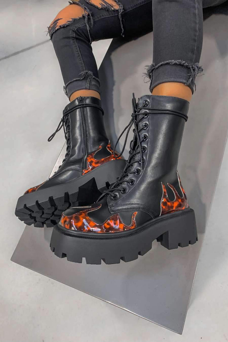 KICK OFF Chunky Lace Up Platform Ankle Boots - Black Flames
