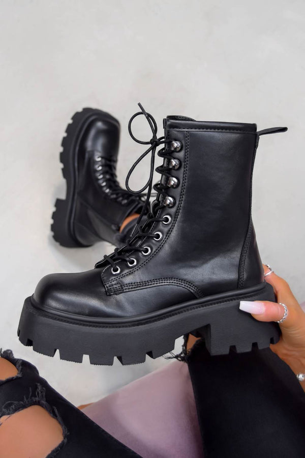 KICK OFF Chunky Lace Up Platform Ankle Boots - Black PU