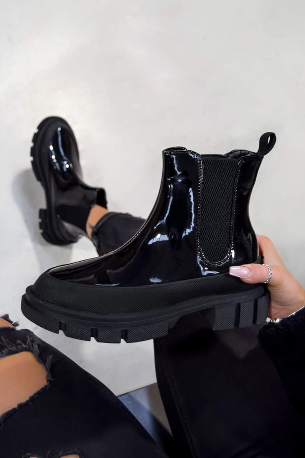 KIKI Chunky Sole Ankle Boots - Black Patent
