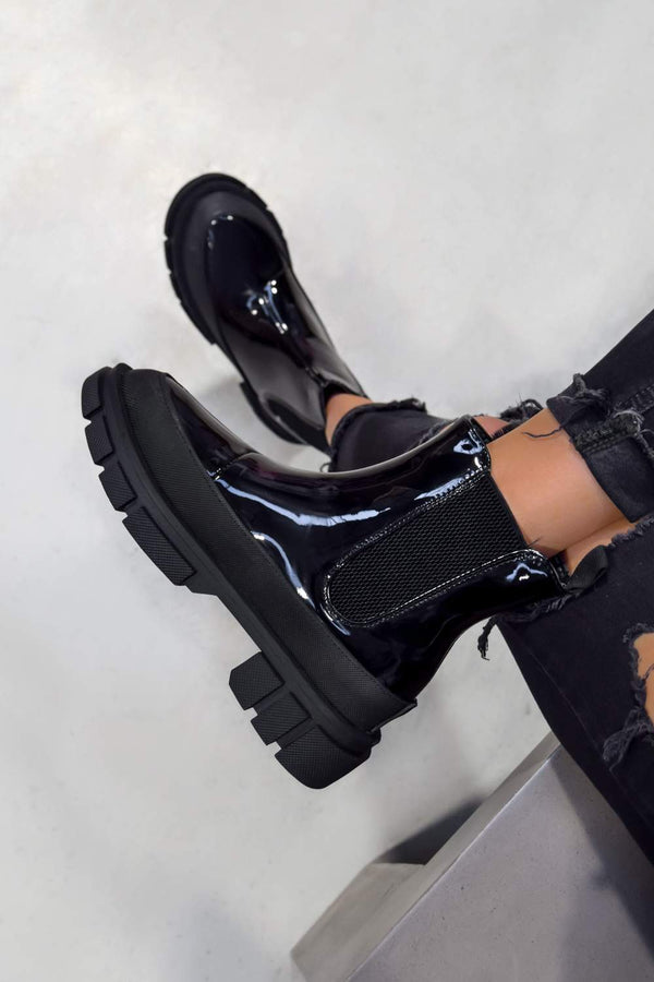 KIKI Chunky Sole Ankle Boots - Black Patent - 1
