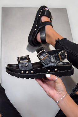KIKO Sling Back Centurion Sandals - Black Croc