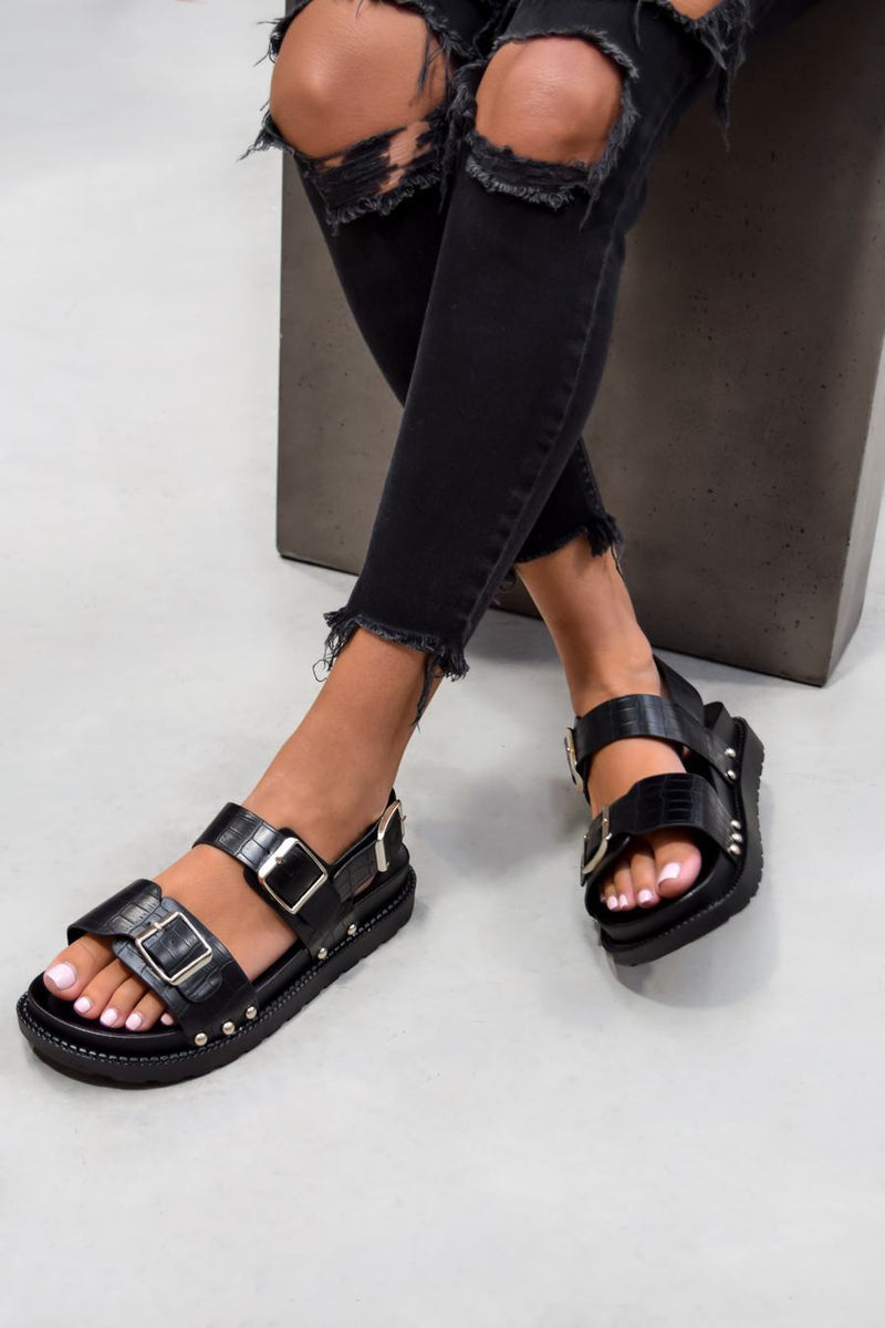 KIKO Sling Back Centurion Sandals - Black Croc - 2