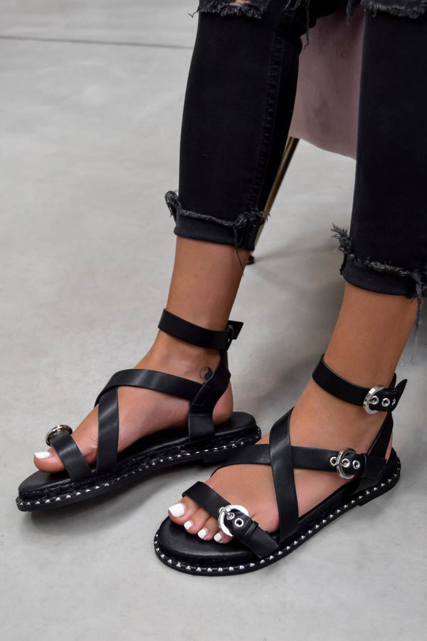 KIMMY Strappy Buckle Sandals - Black PU - 1