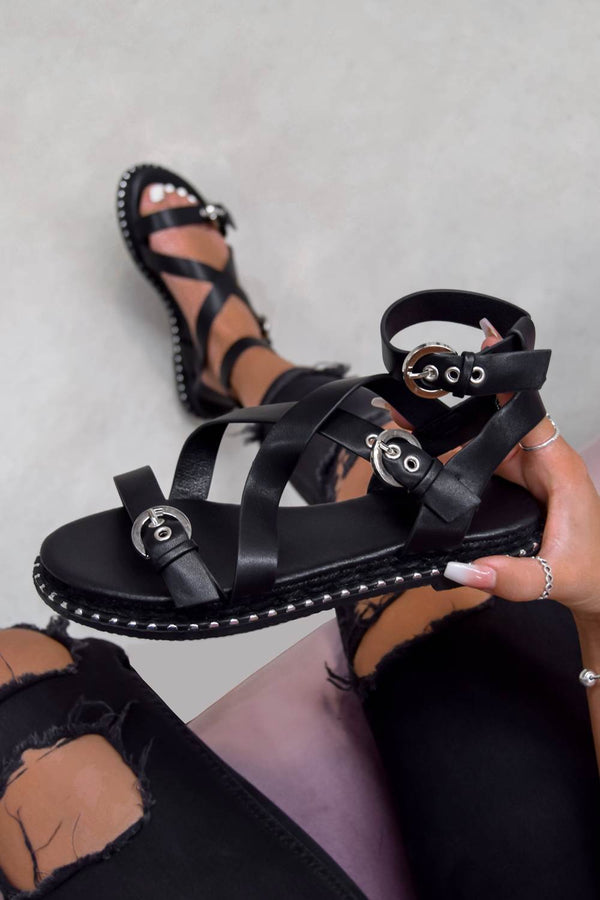 KIMMY Strappy Buckle Sandals - Black PU