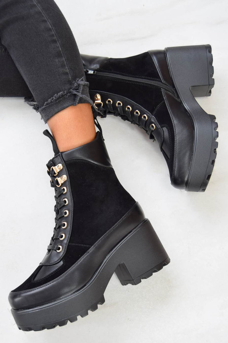 Koi Mixed Panel Chunky Biker Boots - Black - 2
