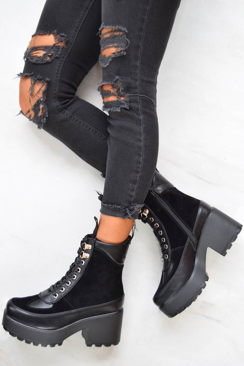 Koi Mixed Panel Chunky Biker Boots - Black - 1