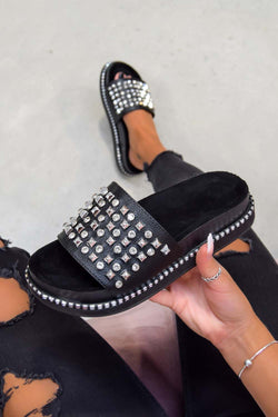 LARENA Studded Diamante Chunky Sliders - Black/Silver