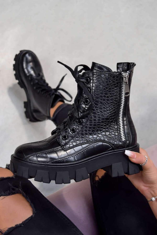 LAUNCH Chunky Sole Zip Ankle Boots - Black Croc