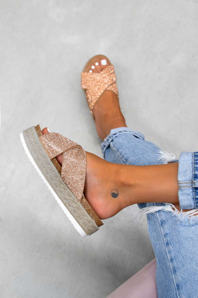 LAVISH Chunky Platform Espadrille Sandals - Rose Gold - 2