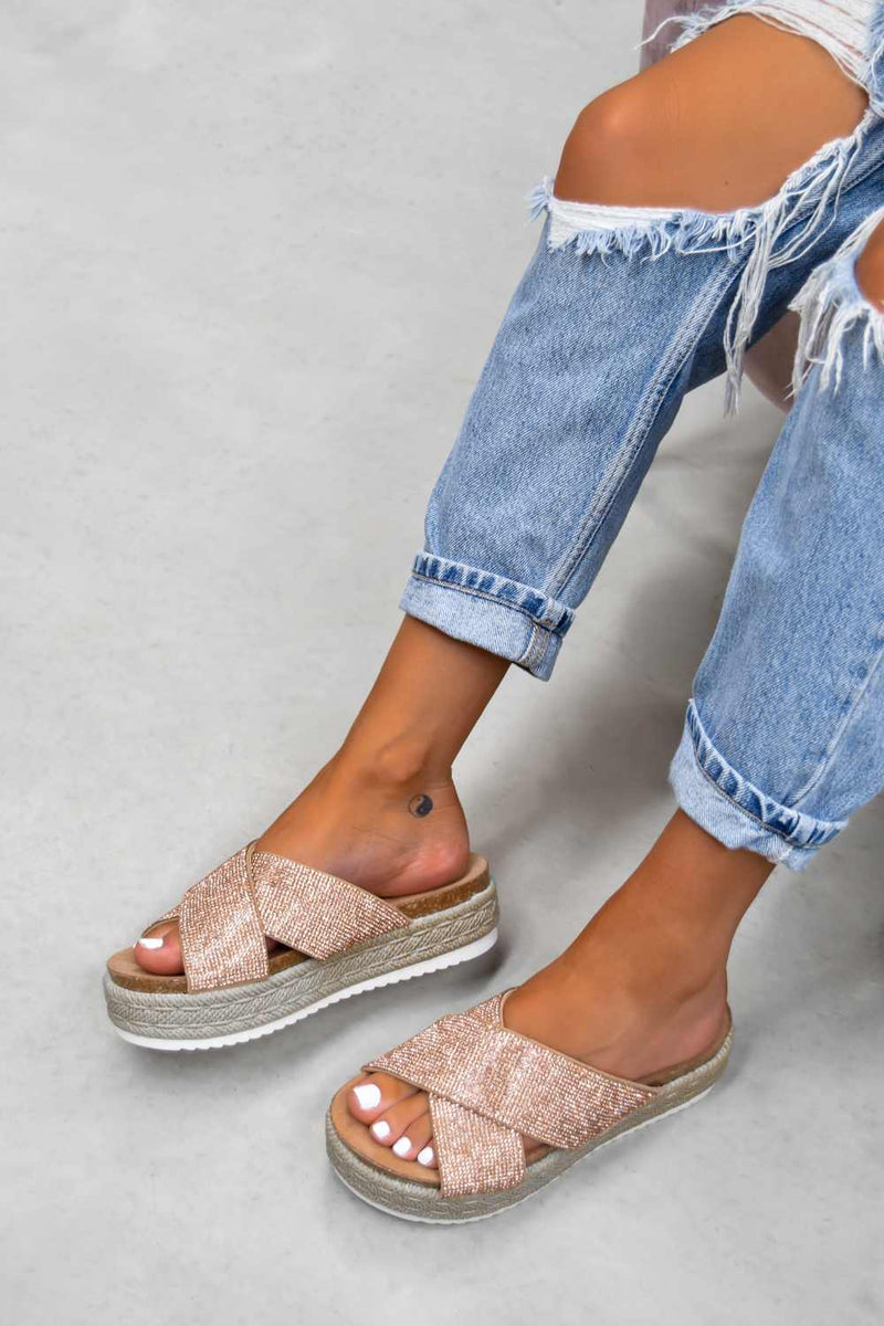 LAVISH Chunky Platform Espadrille Sandals - Rose Gold - 1