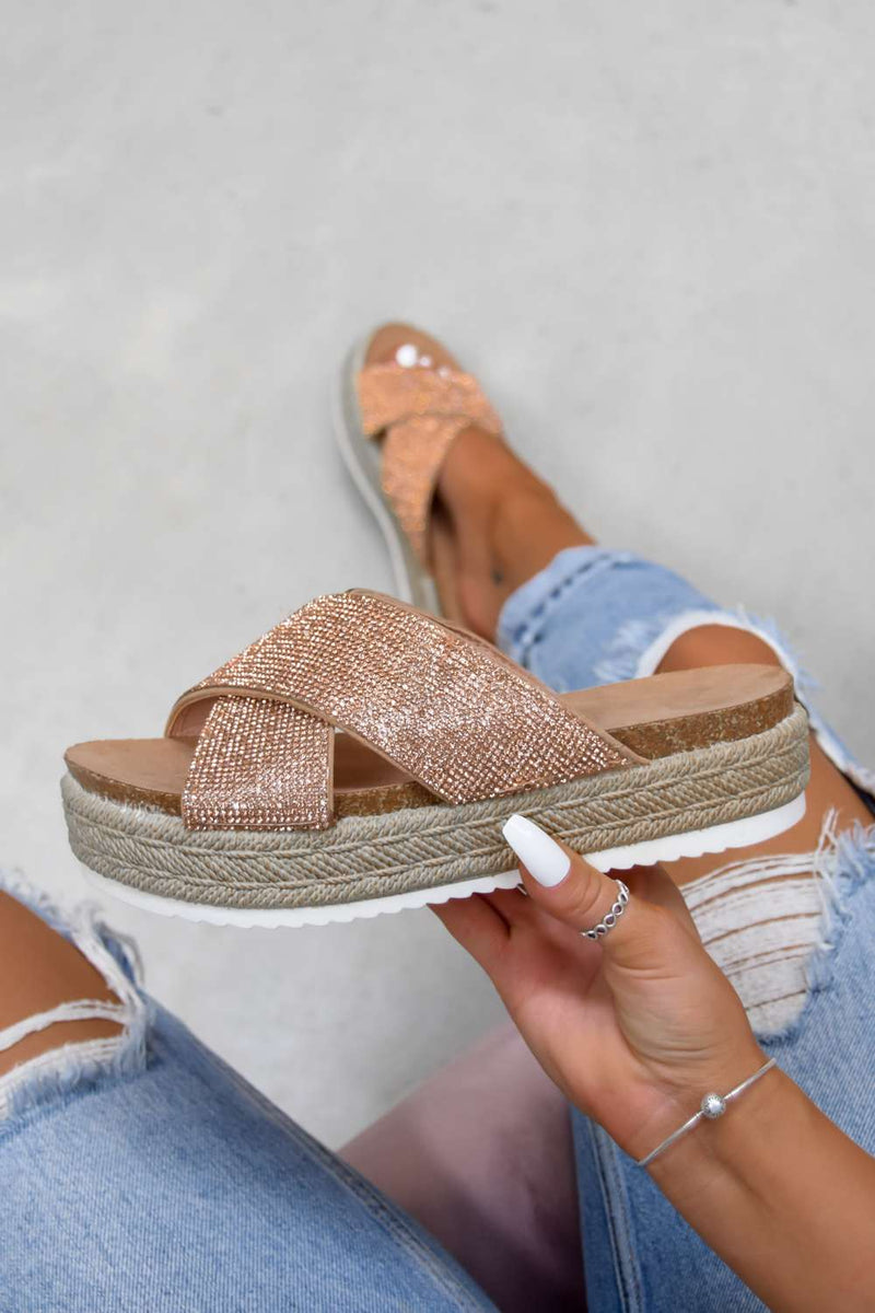 LAVISH Chunky Platform Espadrille Sandals - Rose Gold