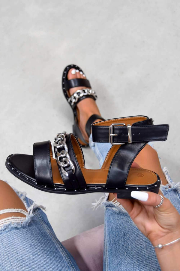 LEMME KNOW Chain Strap Buckle Sandals - Black