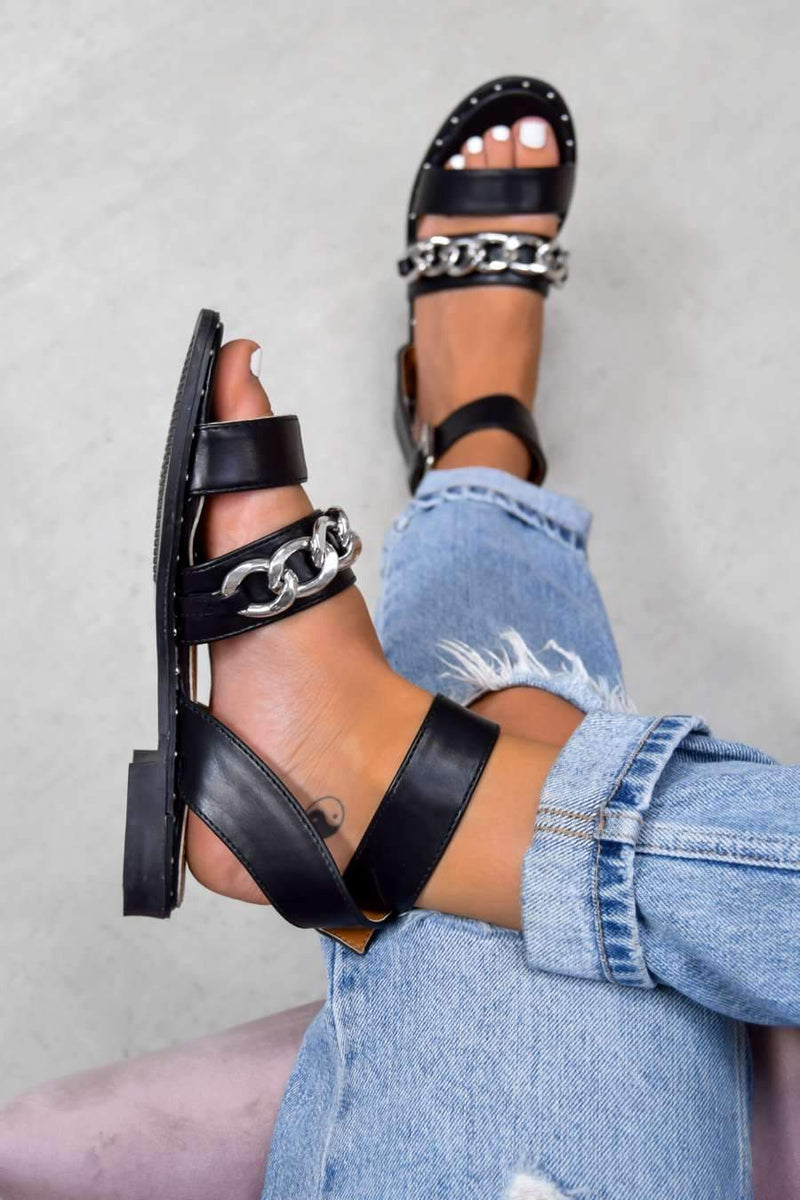 LEMME KNOW Chain Strap Buckle Sandals - Black - 2