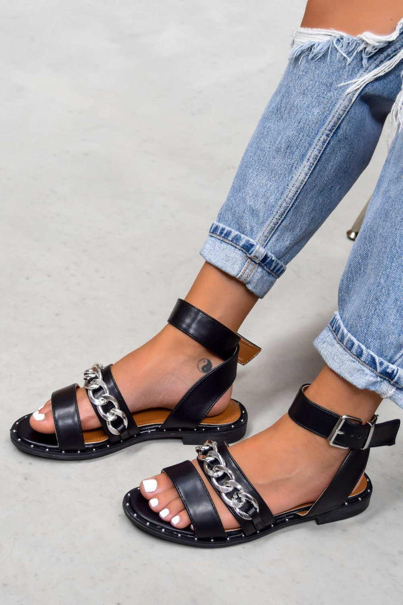 LEMME KNOW Chain Strap Buckle Sandals - Black -1