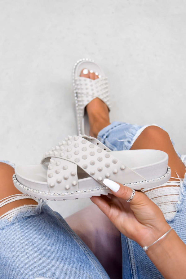LENA Chunky Spike Studded Sliders - Grey