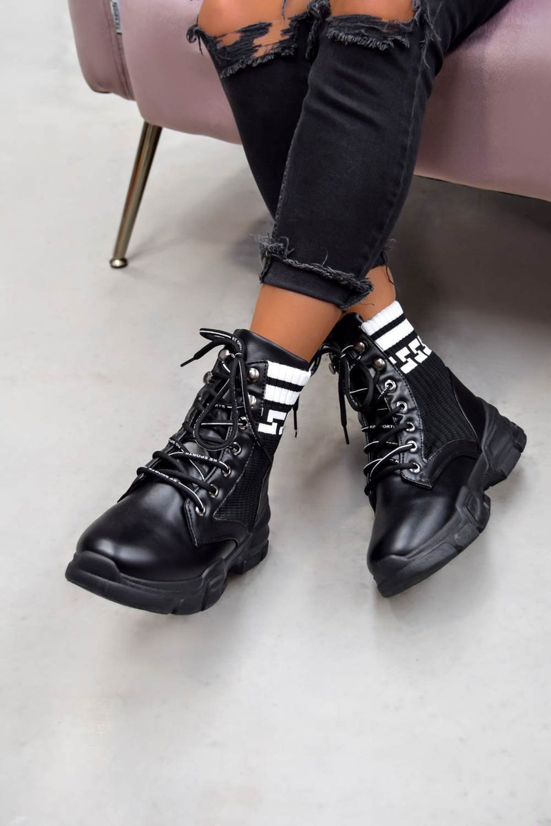 LEONA Sock Fit Ankle Boots - Black - 1