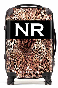 Personalised Initial Suitcase - Leopard Print - Small Cabin Luggage