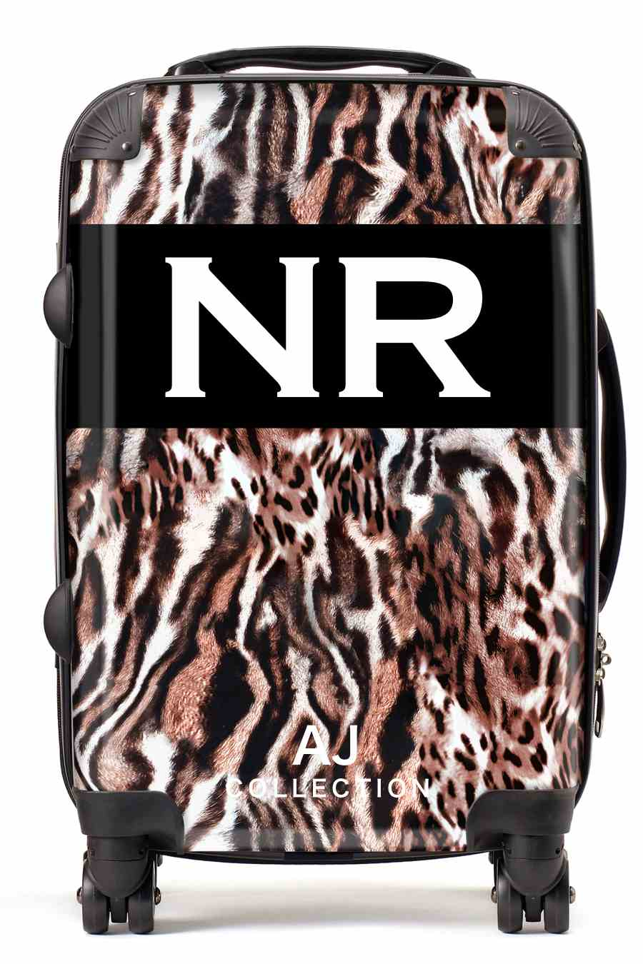 Personalised initial suitcase leopard fur print small cabin luggage