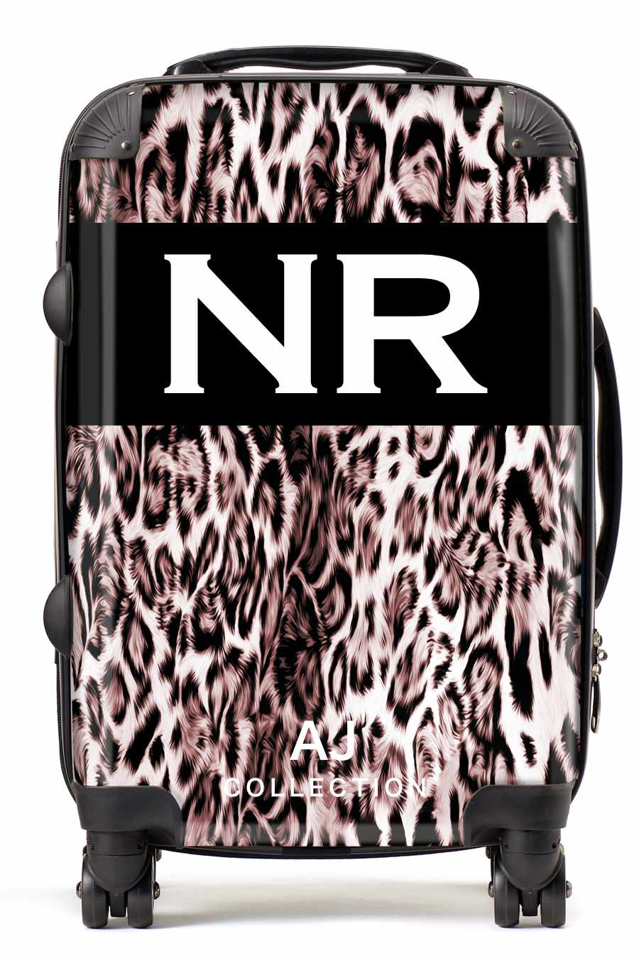 Personalised Initial Suitcase - Light Leopard Print - Small Cabin Luggage
