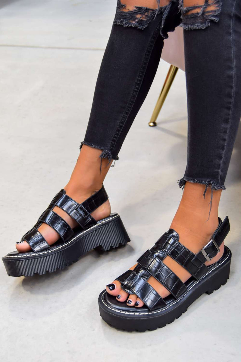 LEVEL UP Chunky Buckle Sandals - Black Croc - 1