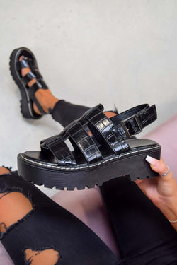 LEVEL UP Chunky Buckle Sandals - Black Croc