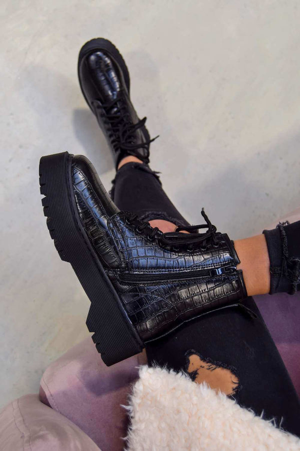 LEVEL UP Chunky Platform Lace Up Ankle Boots - Black Croc