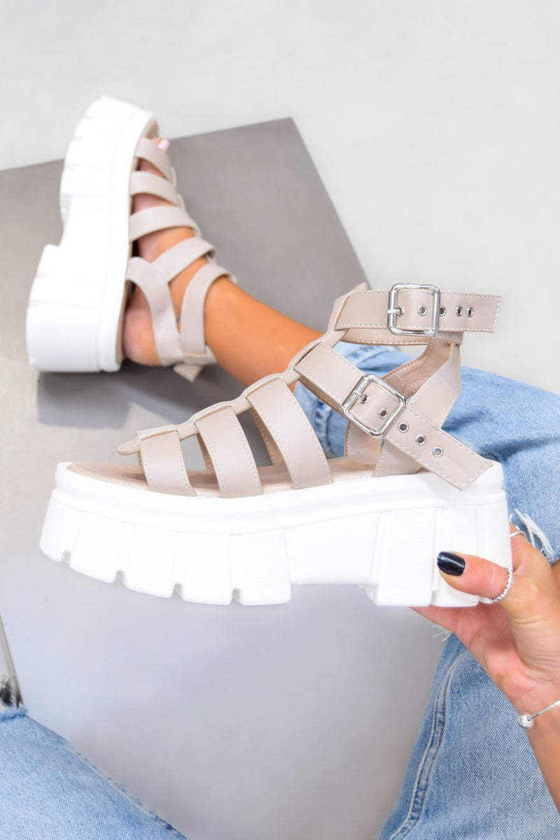 LOCKDOWN Super Chunky Caged Platform Sandals - Nude PU - 2