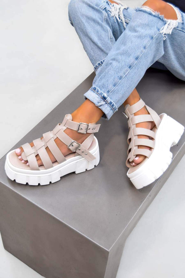 LOCKDOWN Super Chunky Caged Platform Sandals - Nude PU - 1