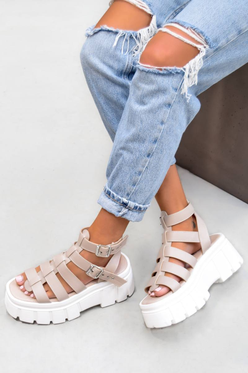 LOCKDOWN Super Chunky Caged Platform Sandals - Nude PU