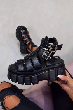 LOCKDOWN Super Chunky Caged Platform Sandals - Black PU