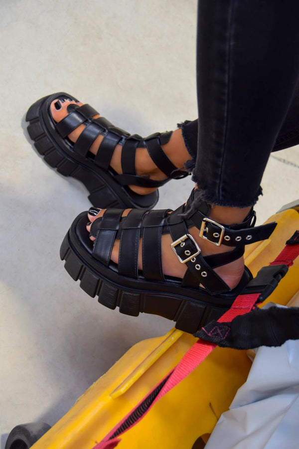 LOCKDOWN Super Chunky Caged Platform Sandals - Black PU - 1