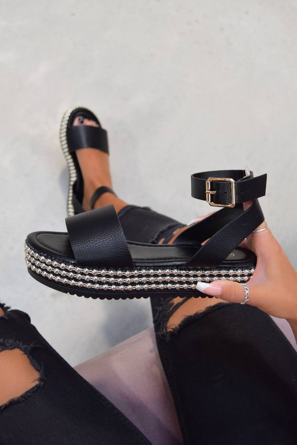 LOLITA Chunky Platform Beaded Sandals - Black