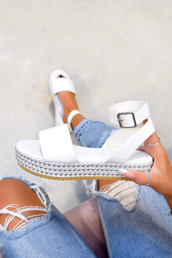LOLITA Chunky Platform Beaded Sandals - White